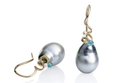 Spirals Earrings Gold Tahiti Pearl