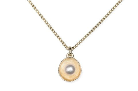 Waterlily Necklace Gold Pearl Small