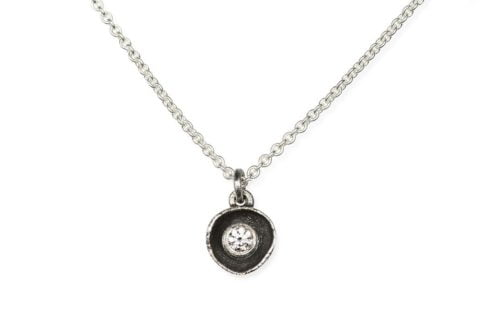 Waterlily Necklace Silver Small Diamond 007