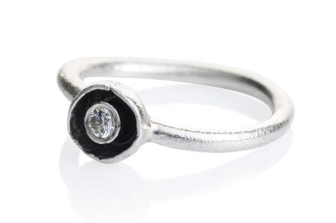 Waterlily Ring Silver Diamond Embrace 007