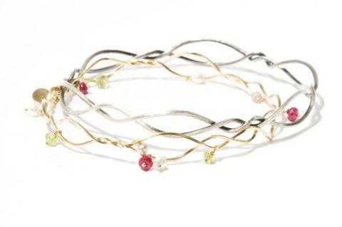 Kaprifol Bracelet Double Ruby Peridot Pearl